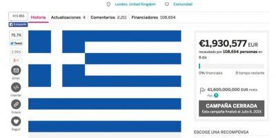 Un colecta online para pagar la deuda griega Foto:Indie Go Go