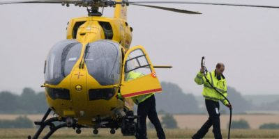 Con la compañía de ambulancias aéreas East Anglian Air Ambulances. Foto: AFP