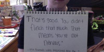 """""""Eso está bien. No te inmutaste mucho. Eso significa que no estás nerviosa"""". Mi amigo mme molestó por 2 años. Comenzó cuando tenía 11 años. Foto:vía Project Unbreakable.org"""
