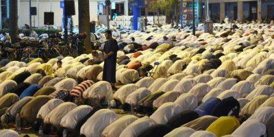 Una mujer que estaba rezando sintió como el animal rozó sus pies. Foto:AFP