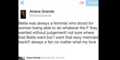 Entonces Ariana le tuiteó de forma pasiva/agresiva, diciéndole que no entendía cómo una diva como ella la podía criticar. Foto:vía Twitter