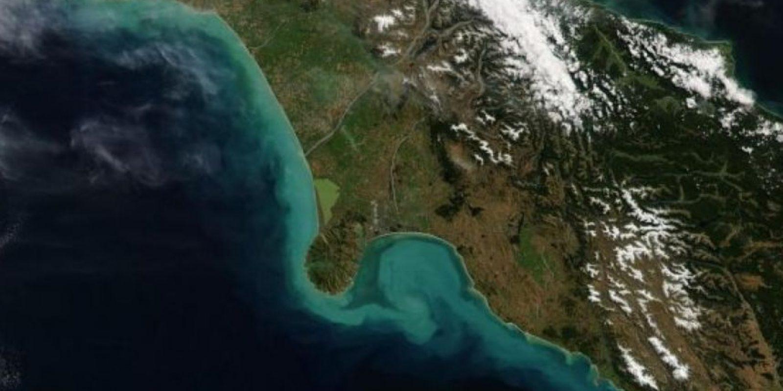 Las corrientes del sur de Nueva Zelanda, desde el satélite Aqua de la NASA. Foto:Vía nasa.gov