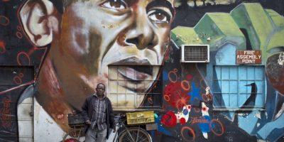 También hay grafittis del presidente Foto:AP