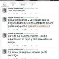 La cuenta de Twitter no ha sido confirmada que sea de Guzmán Loera Foto:Twitter