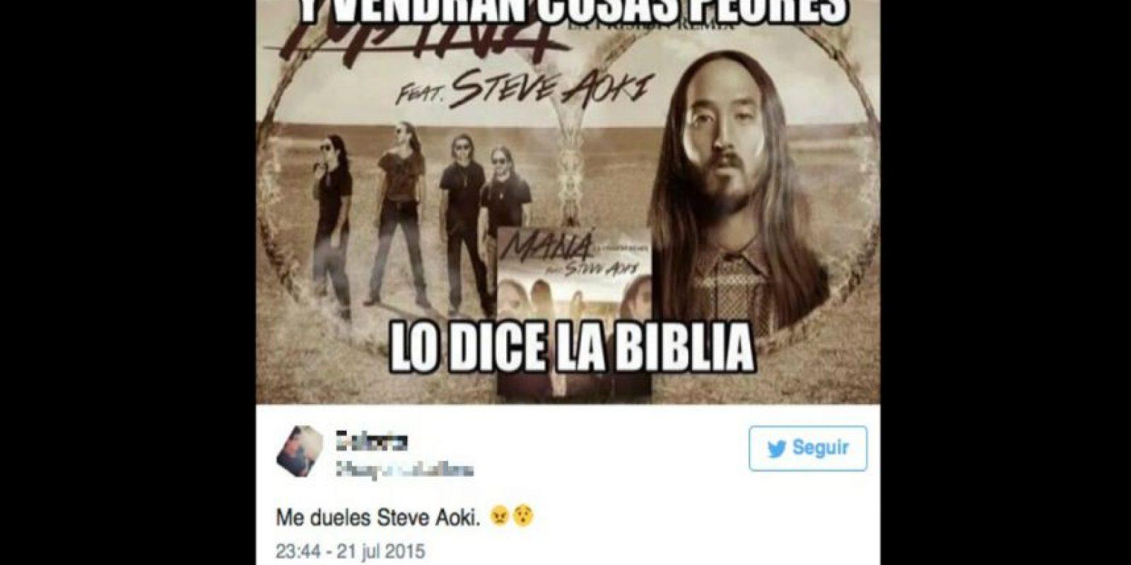 La agrupación Maná anunció que realizaría un dueto al lado del DJ Steve Aoki. Foto:Twitter
