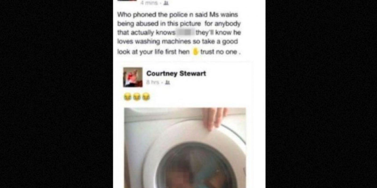 1. La escocesa Courtney Stewart, de 21 fue atacada por sus contactos de Facebook y acusada con la policía por subir una foto de su bebé de dos años a Facebook, mientras el pequeño se encontraba dentro de la lavadora. Foto:Vía Facebook/CourtneyStewart