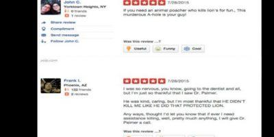 Y en la página de review del consultorio le han dejado mensajes de odio. Foto:vía Yelp
