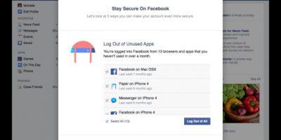 La primera opción les ayudará a cerrar la sesión en todos los dispositivos si no se han utilizado en un mes Foto:Facebook