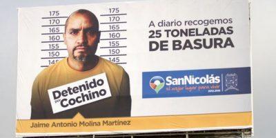 Así luce el anuncio para avergonzar a quienes tiren basura. Foto:Vía www.sanicolas.gob.mx