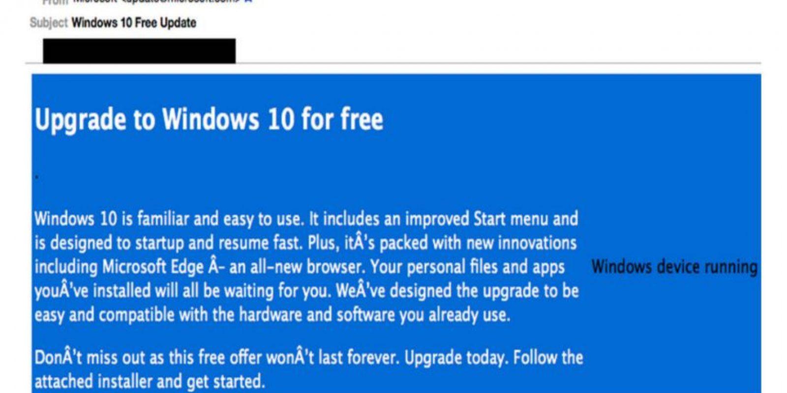 """Así es el mensaje falso con """"malware"""" Foto:blogs.cisco.com"""