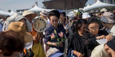 """También asistieron decenas de """"Hibakusha"""", nombre con el que se les conoce a los sobrevivientes Foto:Getty Images"""