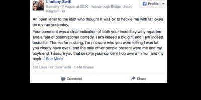 Así que ella escribió una carta viral en la que destruyó al sujeto por completo. Foto:vía Facebook/Lindsey Swift