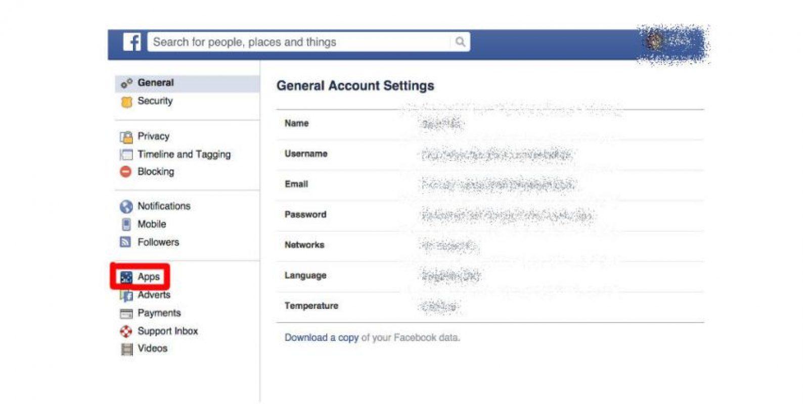 """Regresen al menú de configuraciones y ubiquen la opción de """"Aplicaciones"""" Foto:Facebook"""