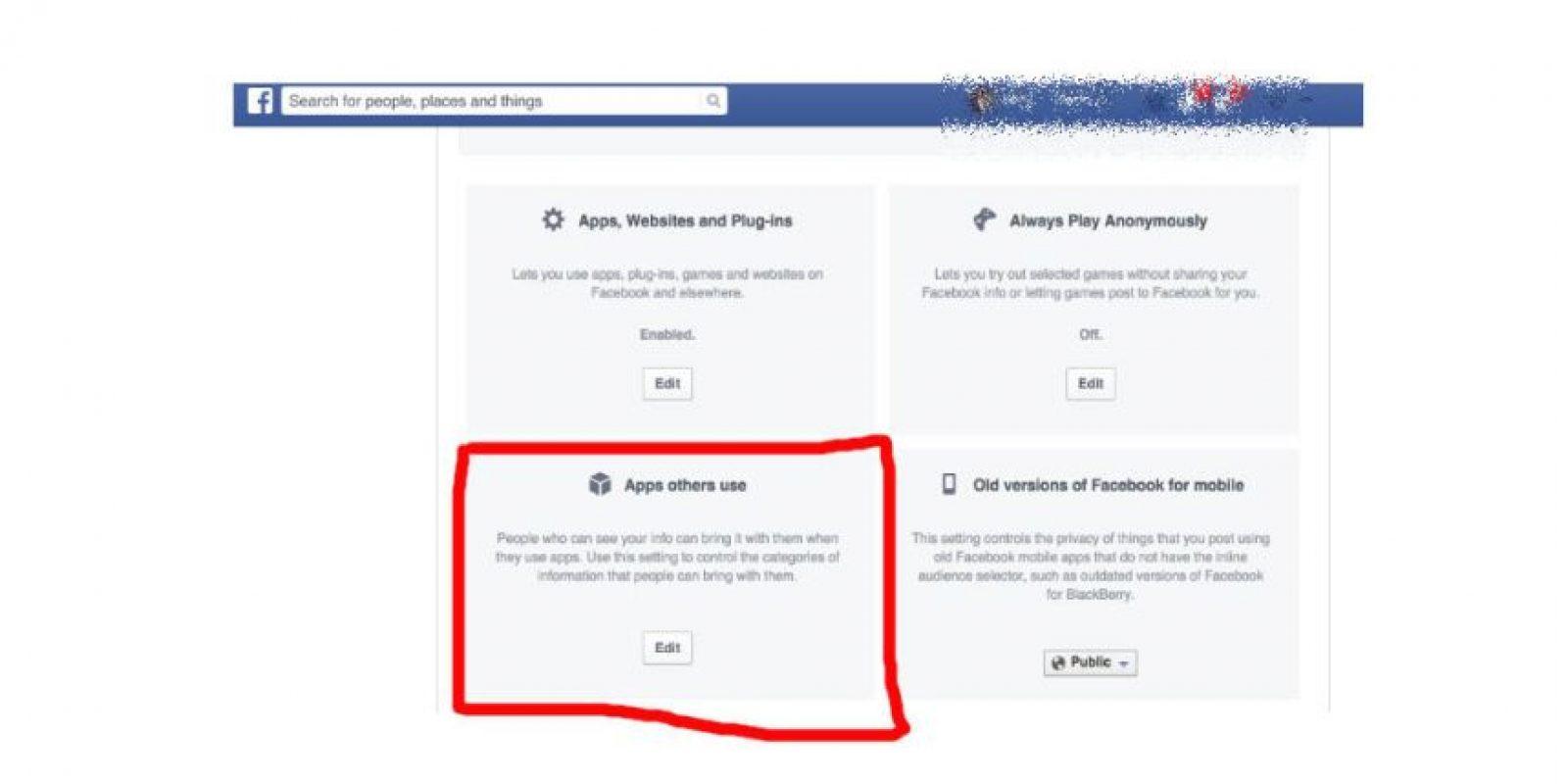 """Después, seleccionen la categoría sobre """"App que usan otras personas"""" Foto:Facebook"""