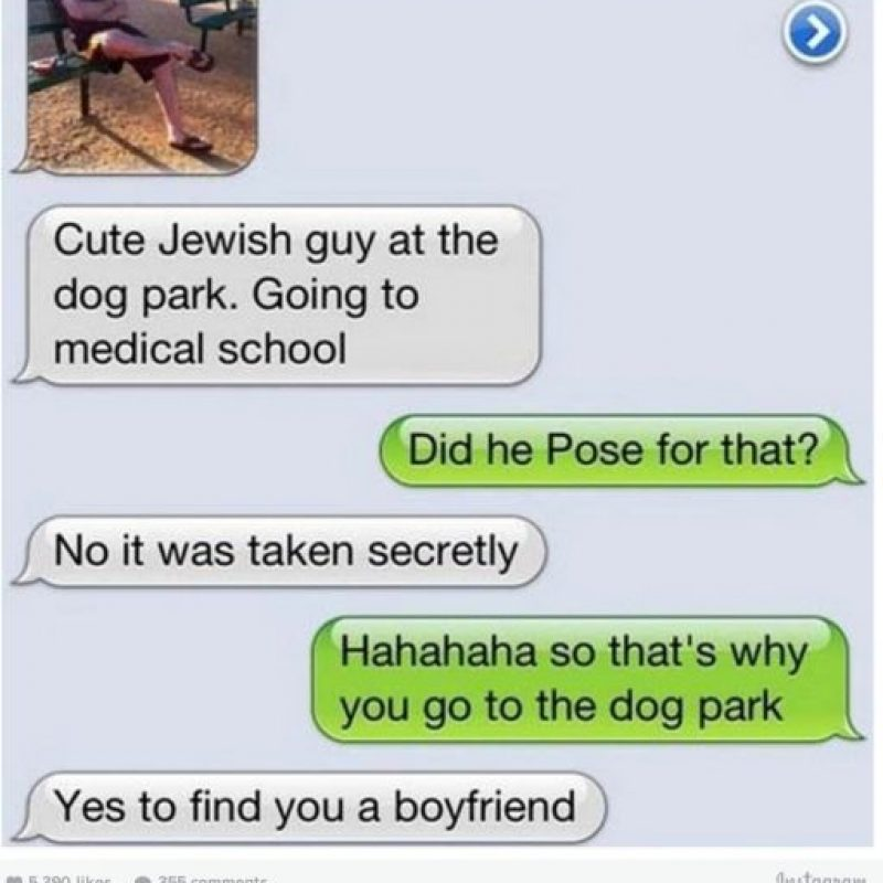 """Mamá envió una foto a su hija. Mamá: """"Es un lindo joven judío, irá a la escuela de medicina"""". Hija: """"¿No pudo posar para la foto?"""". Mamá: """"No, fue tomada secretamente"""". Hija: """"(risas) Entonces a eso vas al parque con el perro"""". Mamá: """"Sí, para encontrarte novio"""" Foto:instagram.com/crazyyourmom/"""
