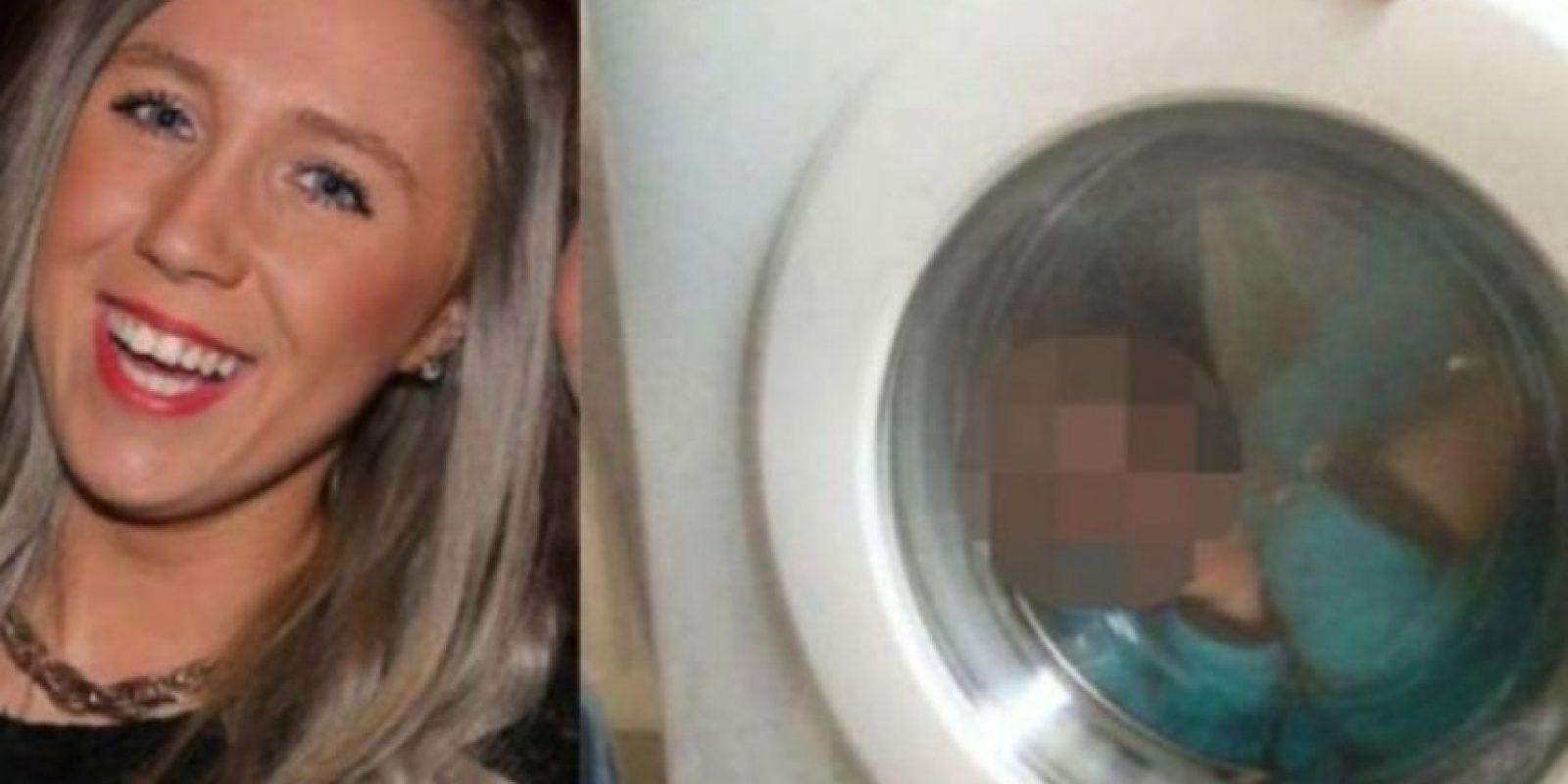 La escocesa Courtney Stewart, de 21 fue denunciada con la policía por una foto de su bebé de dos año encerrado dentro de una lavadora Foto:Facebook/CourtneyStewart
