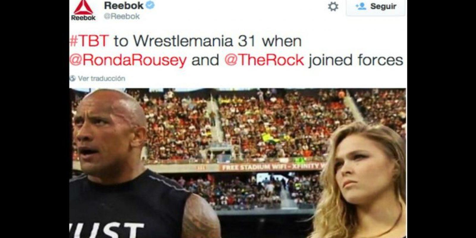 Dwayne Johnson y Ronda Foto:Twitter/Reebok