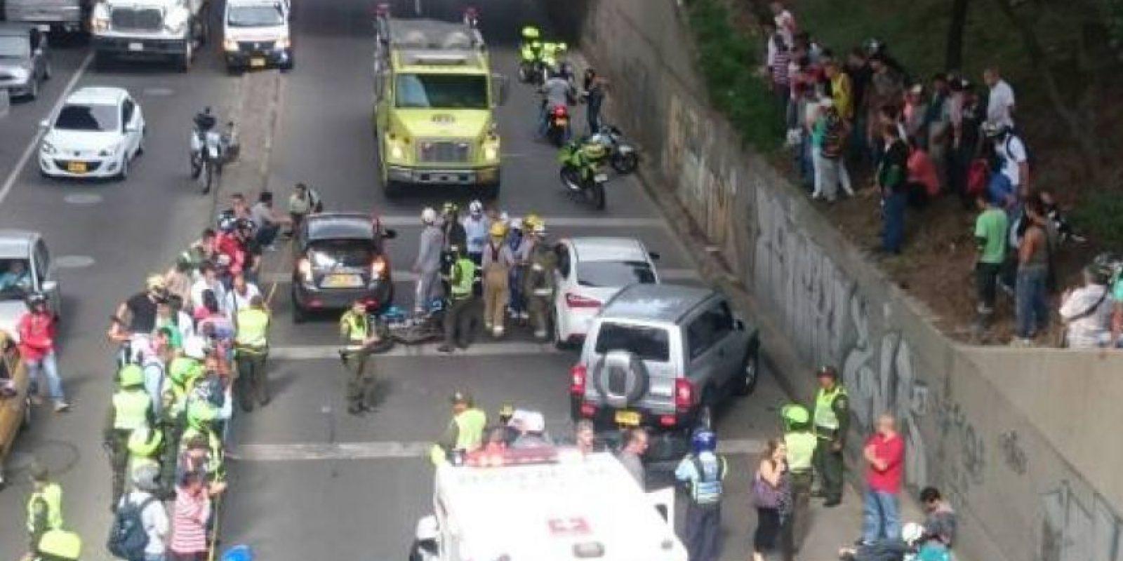 Accidente en el sector de Bulerías, en Medellín. Foto:Tomada de Twitter
