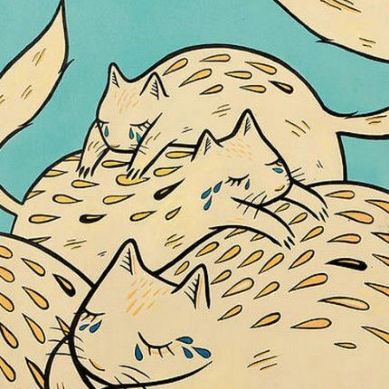 """""""Crying Cat Emoji"""" (2015) de Emily May Rose. Cuesta 300 dólares. Foto:Arch Enemy Arts"""