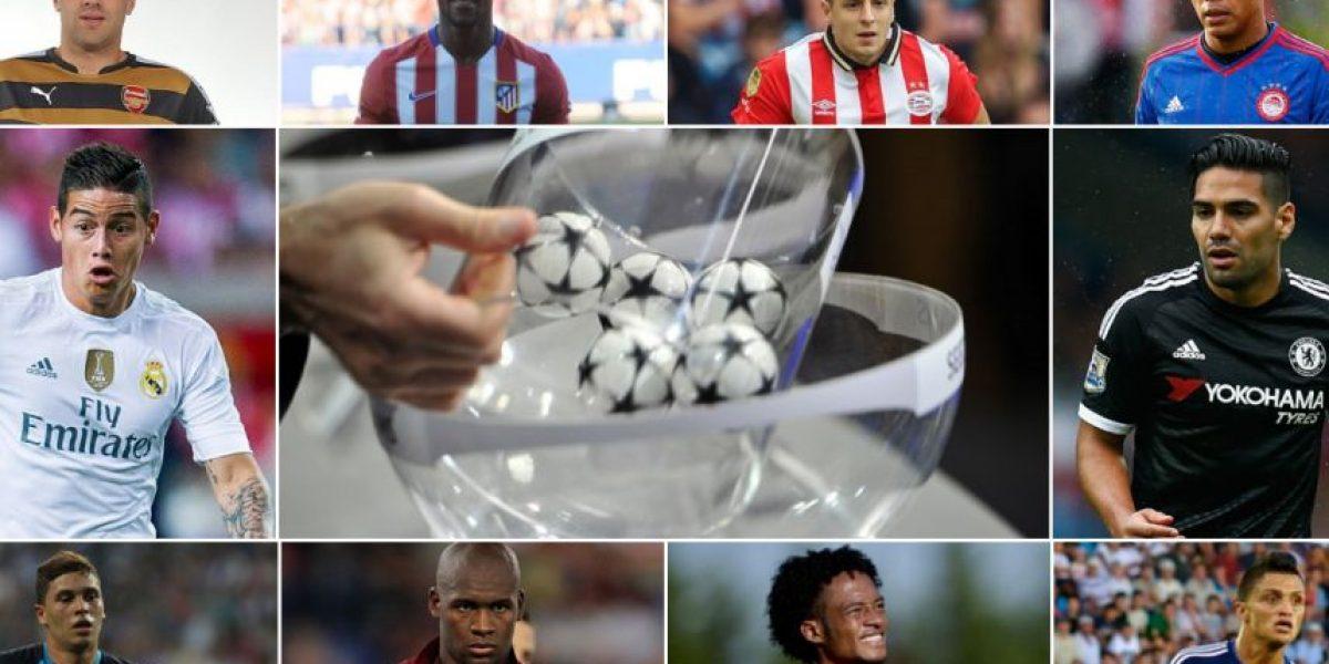 10 colombianos pendientes del sorteo de Champions League este jueves