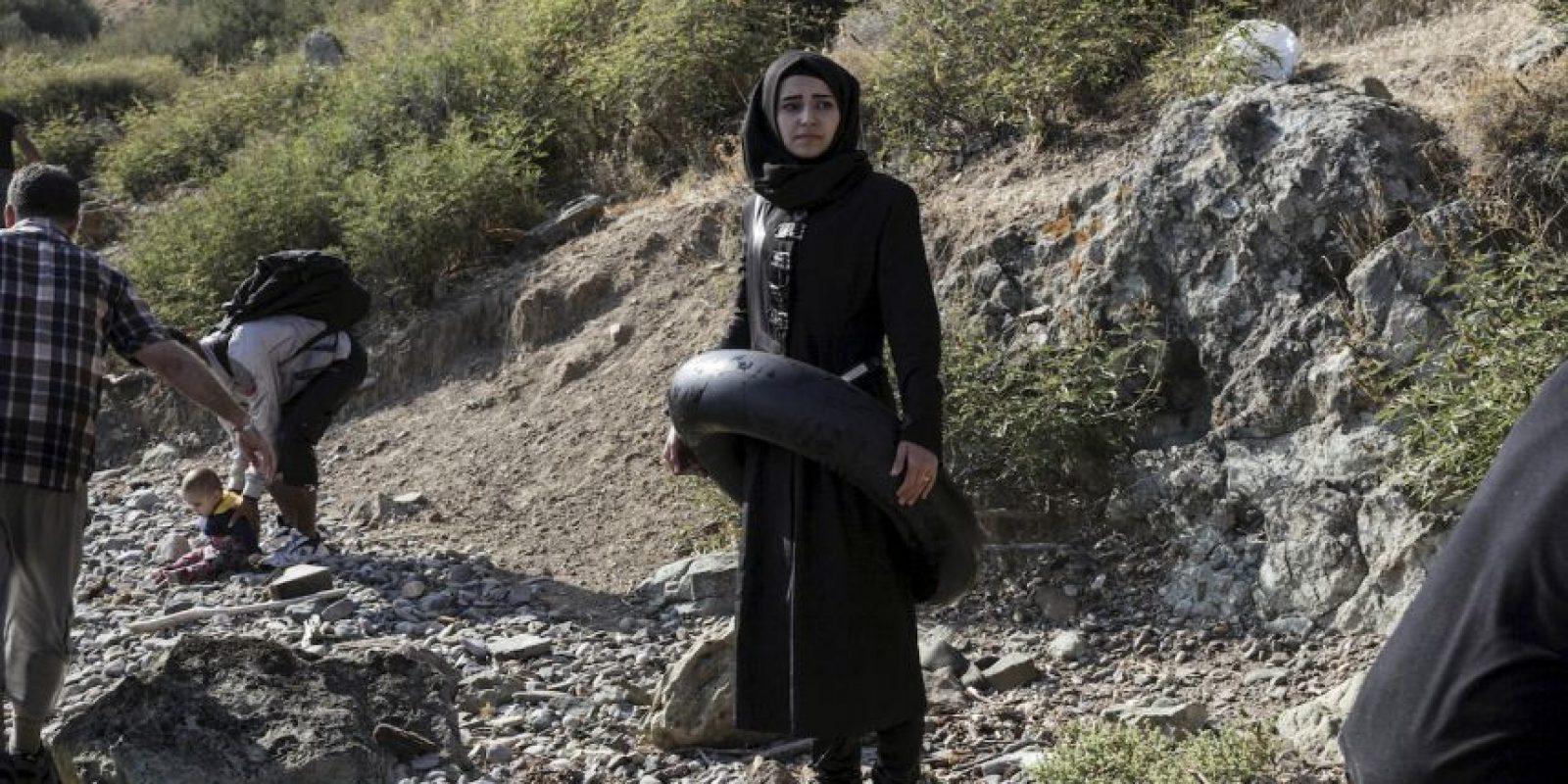 Refugiada siria en la isla griega Lesbos. Foto:AFP