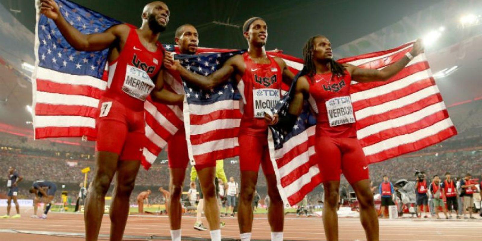 Lashawn Merritt, Bryshon Nellum, Tony McQuay y David Verburg fueron los vencedores en 4X400 metros con un tiempo de dos minutos, 57 segundos y 82 centésimas de segundo. Foto:Getty Images