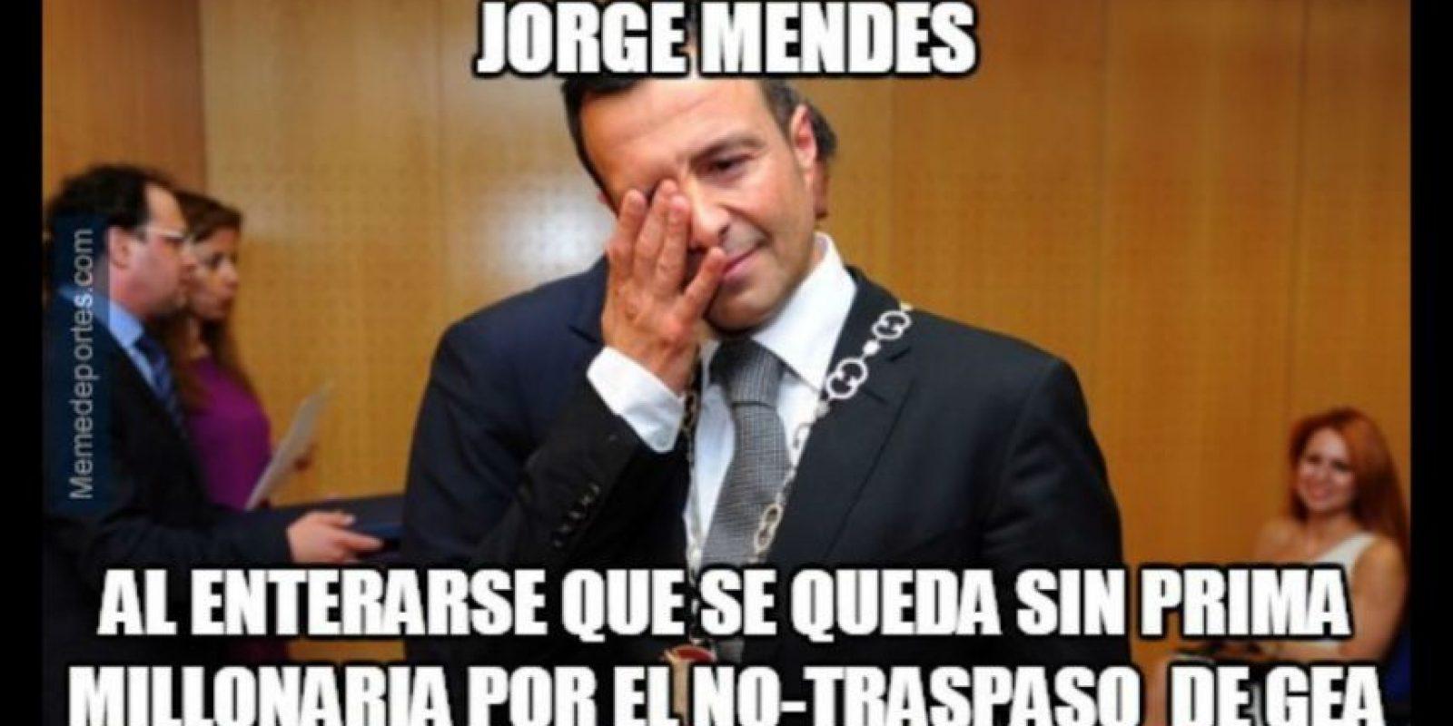 Y Jorge Mendes, con las ganas de recibir su prima. Foto:memedeportes.com