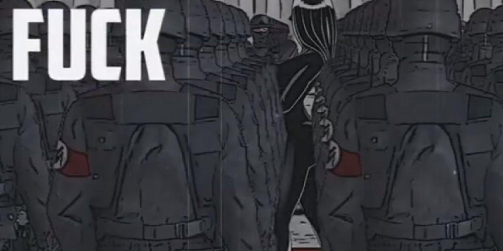 """Nicki Minaj lanzó el lyric video del tema """"Only"""", en esta animación la rapera es representada como un dictador, rodeado de soldados que lucen un parche rojo en el brazo, similar al que usaba el ejercito nazi en sus uniformes. Foto: YouTube/Nicki Minaj"""