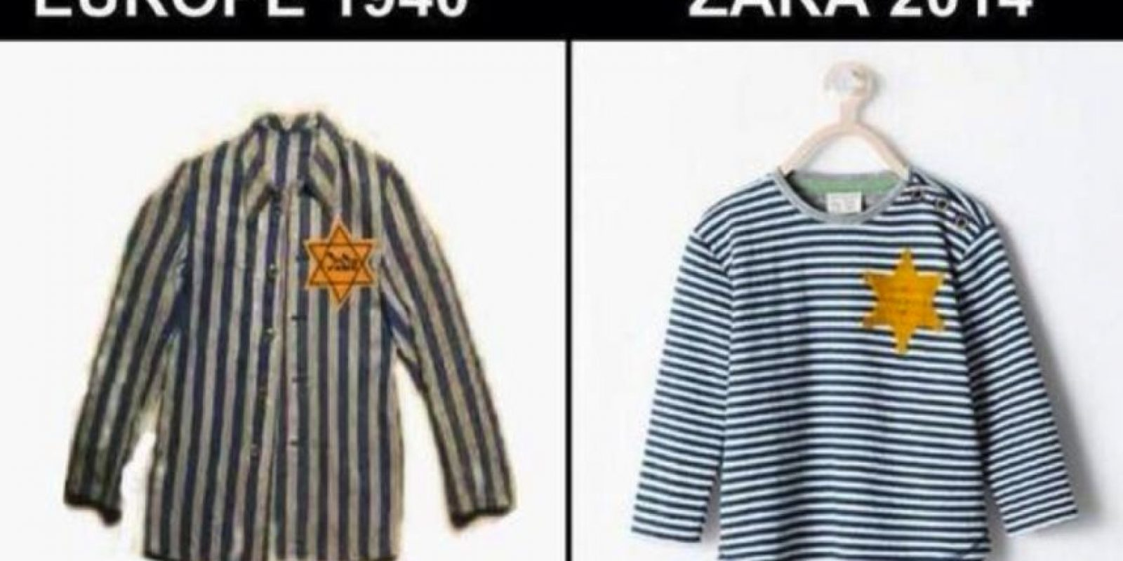 """Se trataba de una camiseta de inspiración """"sheriff"""" que estaba en su línea infantil, pero que rememoraba claramente al uniforme que usaban los prisioneros de los campos de concentración nazis en el Holocausto Foto:Twitter.com – Archivo"""
