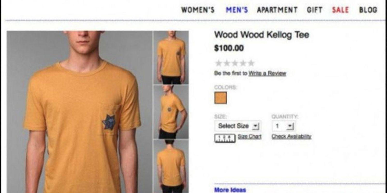 La marca también ha tenido sus problemas por tocar temas sensibles. También hizo una camiseta en clara apología al Holocausto, pues su color es del mismo amarillo de la estrella judía Foto:Urban Outfitters