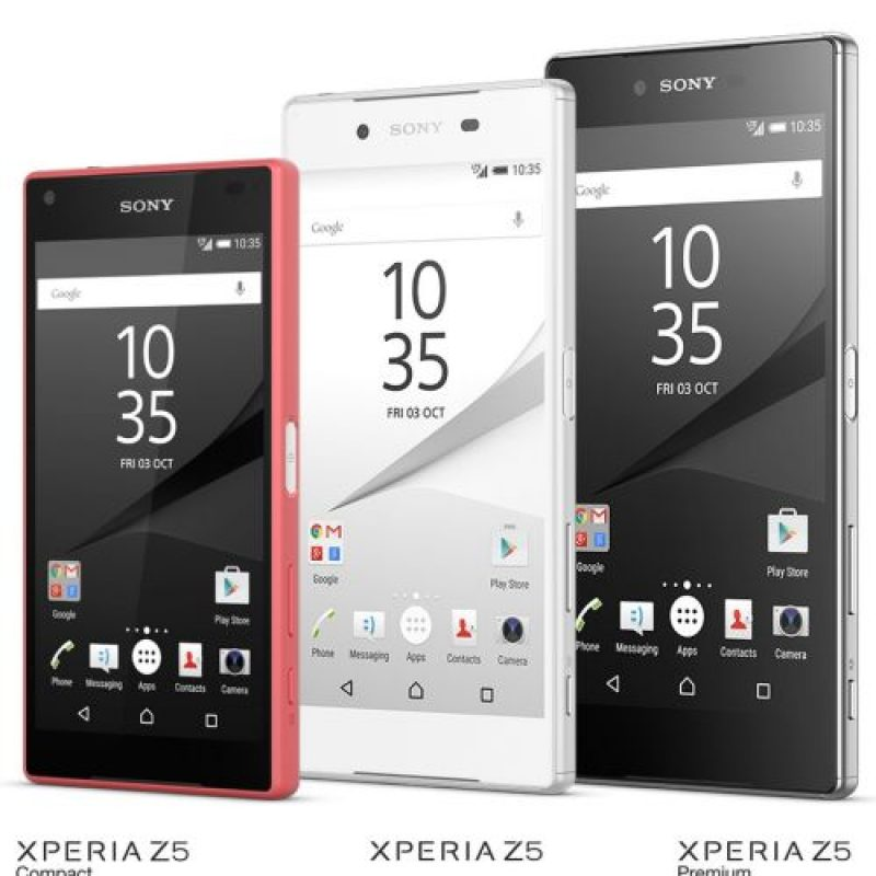 Los nuevos modelos de la serie Xperia Z5 de Sony. Foto:Sony