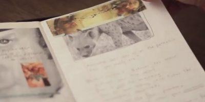 Durante su encierro, el actor creó este diario con la cubierta roja y el dibujo de un joven alimentando a un elefante. Foto:vía YouTube