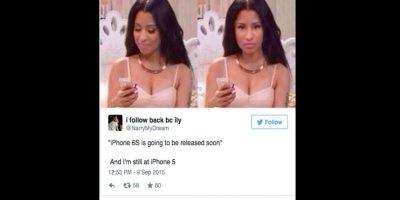 """""""iPhone 6s se revelará pronto, y yo sigo con el iPhone 5"""" Foto:Twitter"""