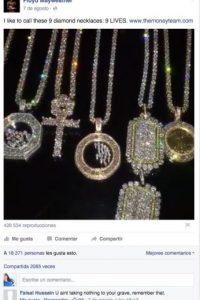 """Por ejemplo, en un video publicado en su Facebook, donde presume su colección de diamantes, el comentario con más """"likes"""" es uno en que se le advierten: """"Nada de eso te llevarás a la tumba"""". Foto:Vía facebook.com/floydmayweather"""