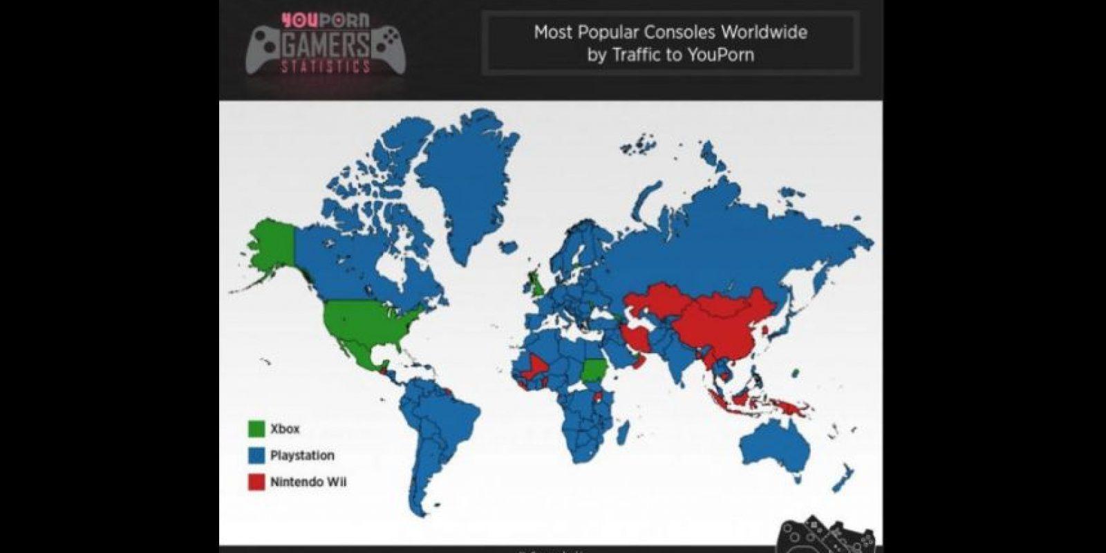 "Mapa. El mundo mira ""YouPorn"" desde PlayStation Foto:YouPorn.com/world"