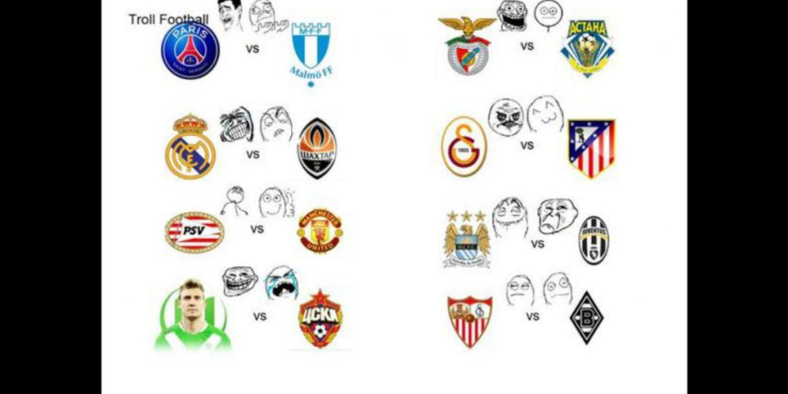 Así veían los equipos sus partidos en la Champions League. Foto:Vía twitter.com/troll__football