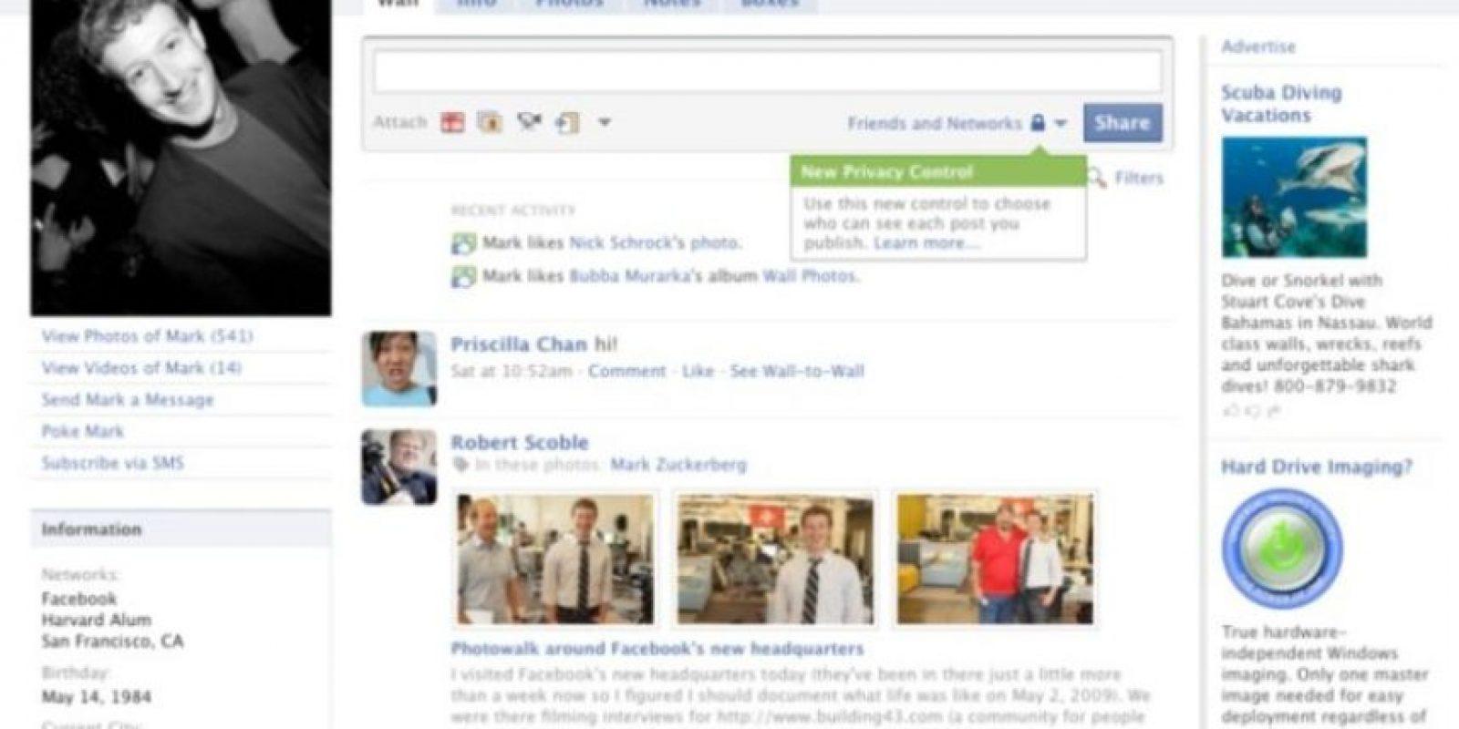 2009. Las configuraciones de privacidad llegaron para quedarse. Foto:Facebook.com