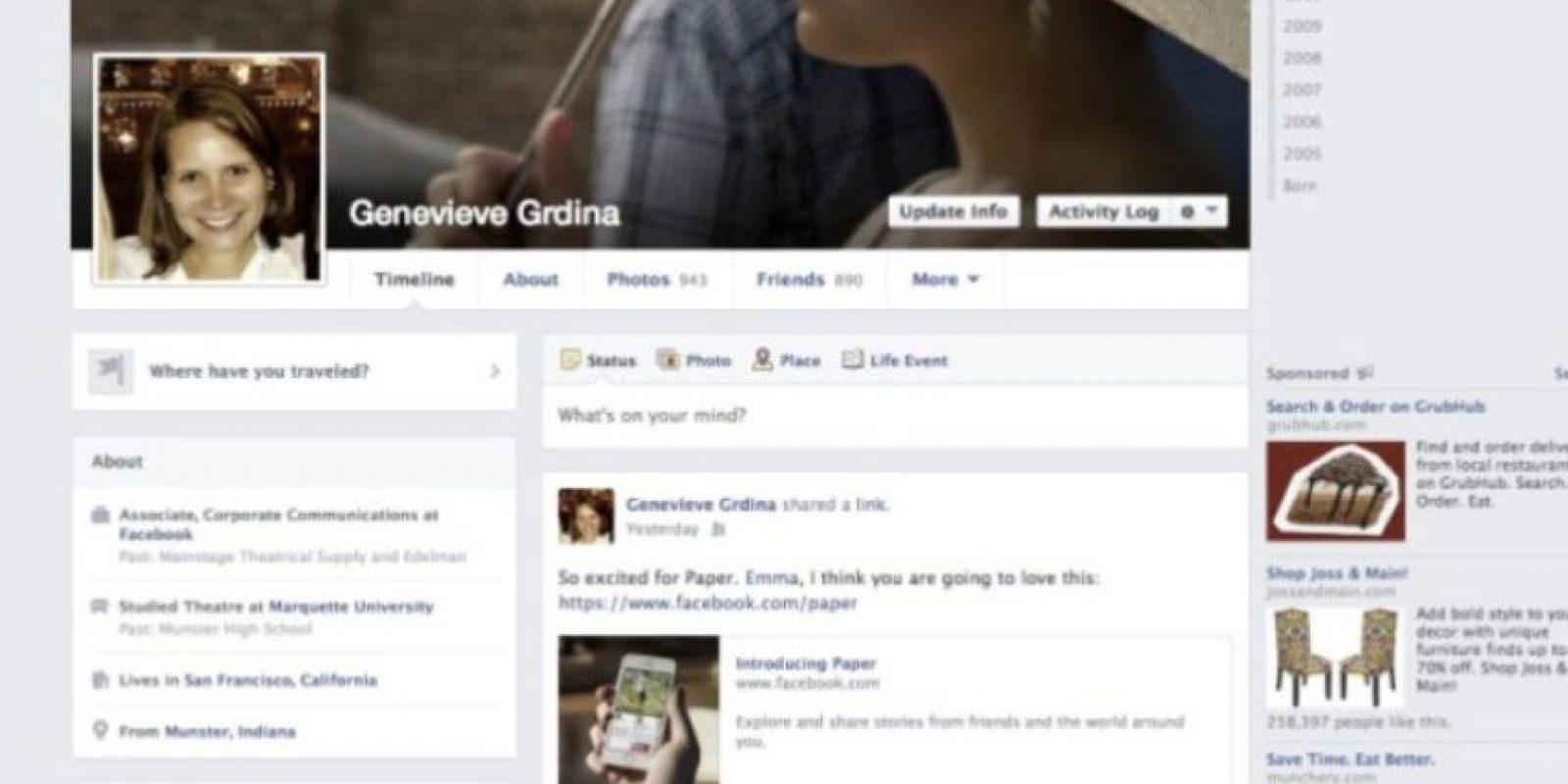"""2013-2014. Facebook introduce una aplicación llamada """"Paper"""" y se los colores se vuelven más sutiles. Foto:Facebook.com"""