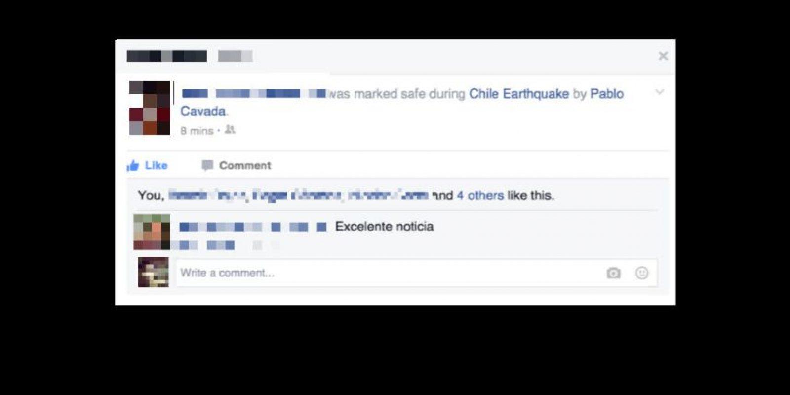 Después se publica automáticamente un estado en el perfil de la persona localizada Foto:Facebook