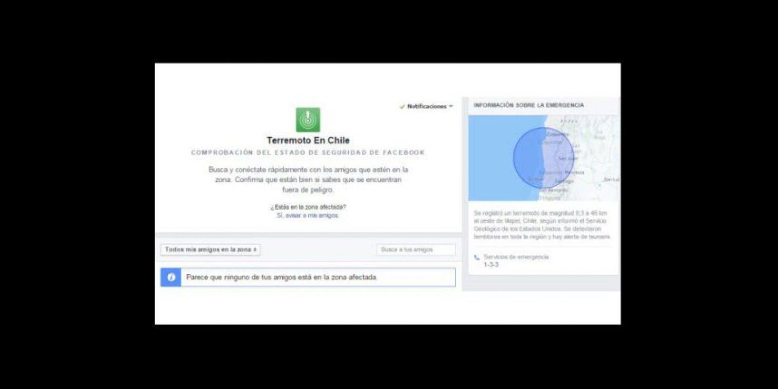 """Las personas marcan a sus contactos como """"a salvo"""" Foto:Facebook"""