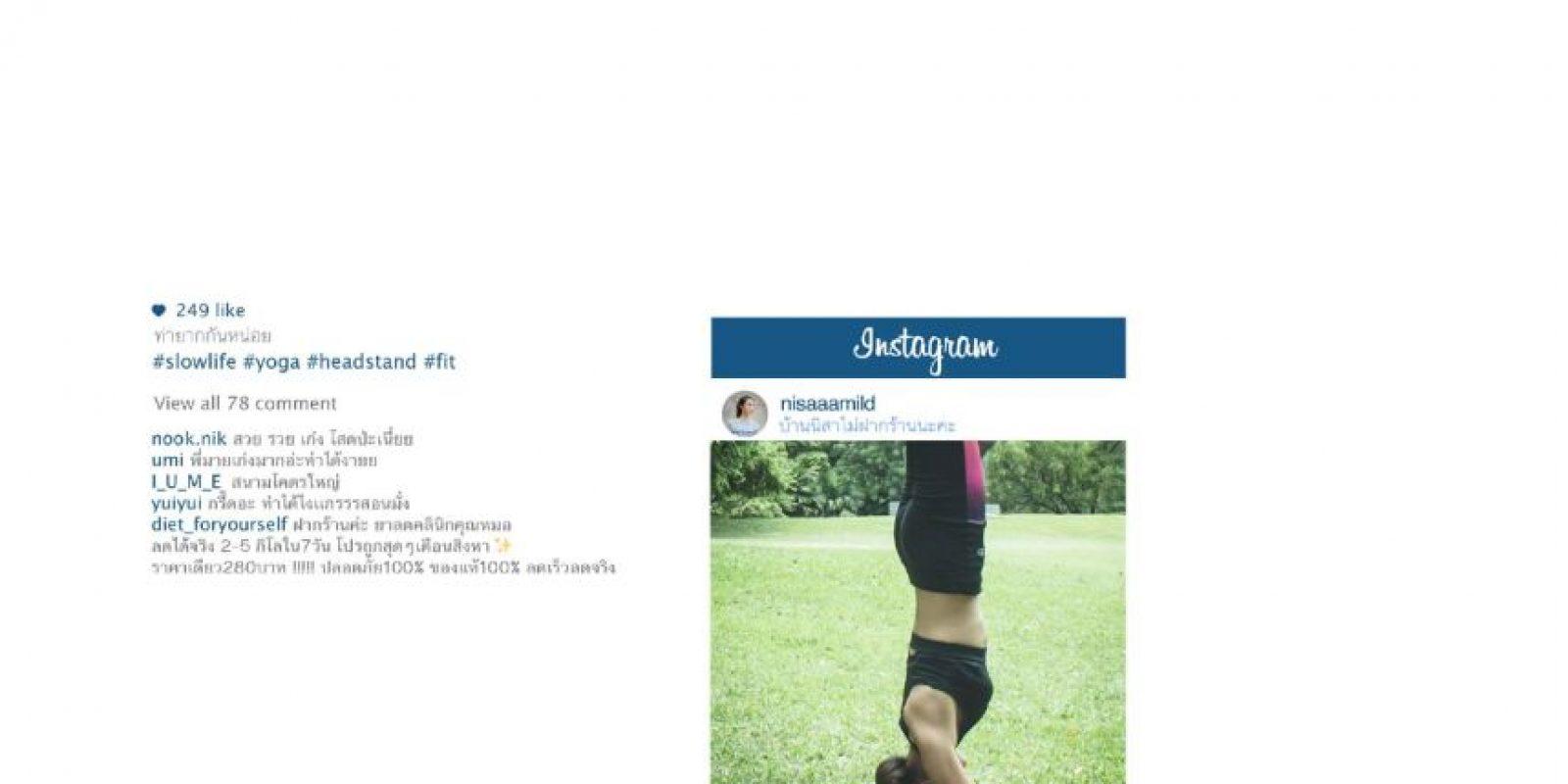 """Yoga, para """"inspirar"""". Foto:vía Facebook/Chompoo Baritone"""