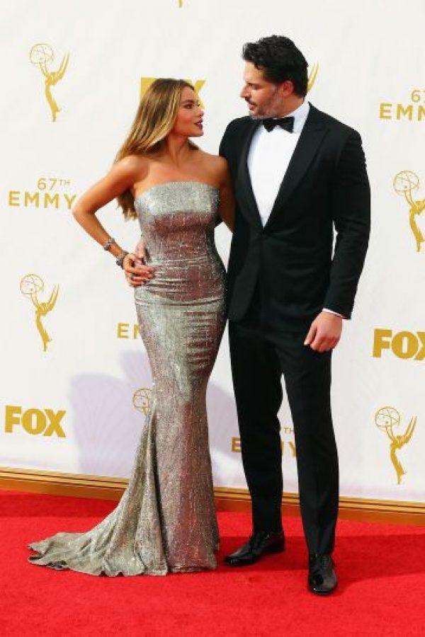 La actriz colombiana optó por un vestido strapless. Foto:Getty Images