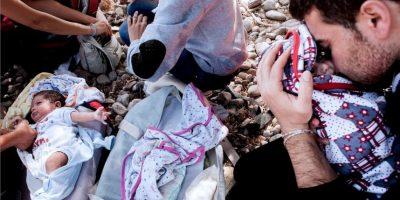 El momento de la llegada a la isla de Lesbos en Grecia Foto:AFP