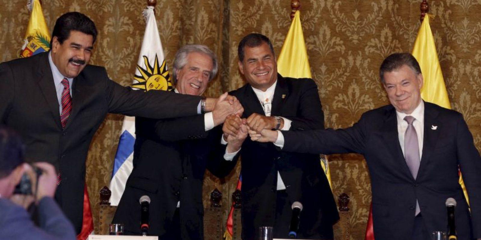 La reunión entre los mandatarios se llevó a cabo en el Palacio de Carondelet en Quito, Ecuador. Foto:AP