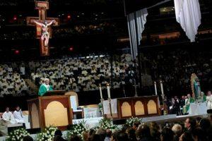Antes de partir a Filadelfia realizó una Santa Misa en el Madison Square Garden. Foto:AFP