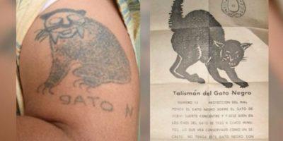El tatuaje que le recomendaron las pitonisas que usara como talismán para no ser atrapado. Foto:Policía