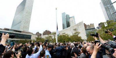 Hoy fue un día histórico, pues fue izada por primera vez la bandera de Palestina Foto:AFP