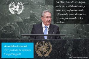 Raúl Castro, presidente de Cuba (Fue su primera participación). Foto:Twitter.com/ONU_es