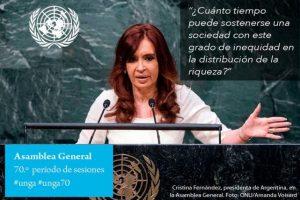 Cristina Fernández, presidenta de Argentina Foto:Twitter.com/ONU_es