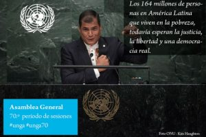 Rafael Correa, presidente de Ecuador Foto:Twitter.com/ONU_es